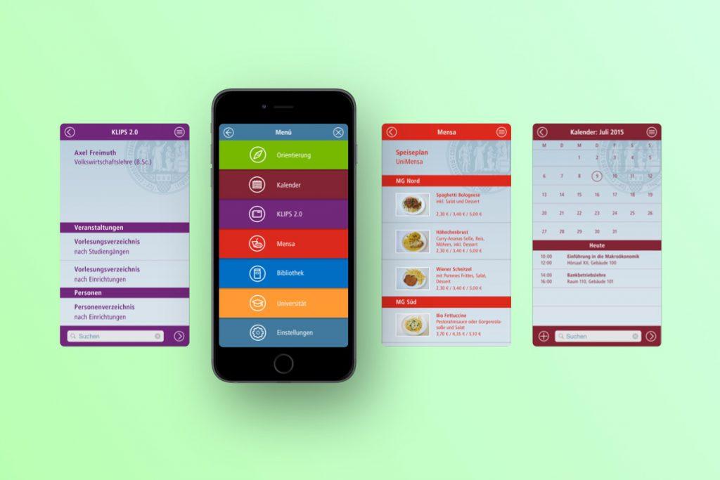 Smartphone mit Entwurf für ein Menü für die Uni Köln