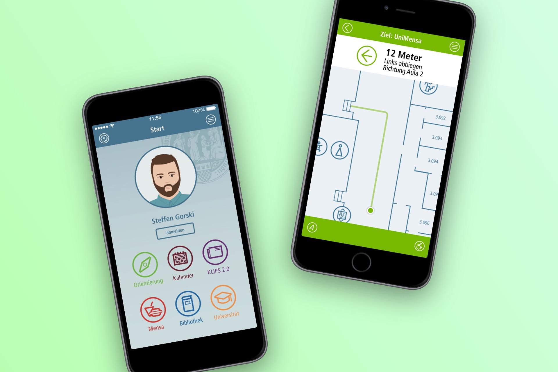 Smartphones mit Entwürfen für eine App für die Uni Köln