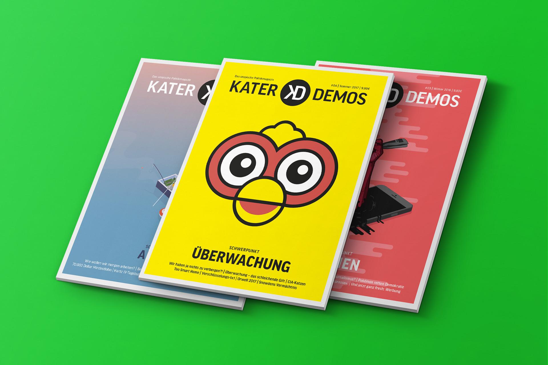 Kater Demos – Cover der Ausgaben zu den Themen Überwachung, Arbeit und Medien